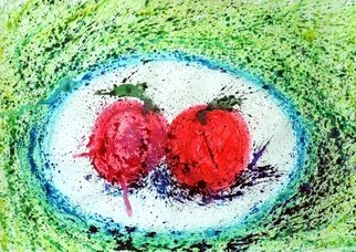 Zaure Kadyke; Food Space Apples, 2018, Original Watercolor, 16.3 x 11.6 inches. Artwork description: 241 plate, red, space, spatter, blue, splashes, spray, apple, food, fruit, galaxy, green...