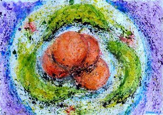 Zaure Kadyke; Food Space Oranges And Bananas, 2018, Original Watercolor, 16.3 x 11.6 inches. Artwork description: 241 plate, purple, space, spatter, blue, splashes, spray, violet, yellow, fruit, banana, orange...