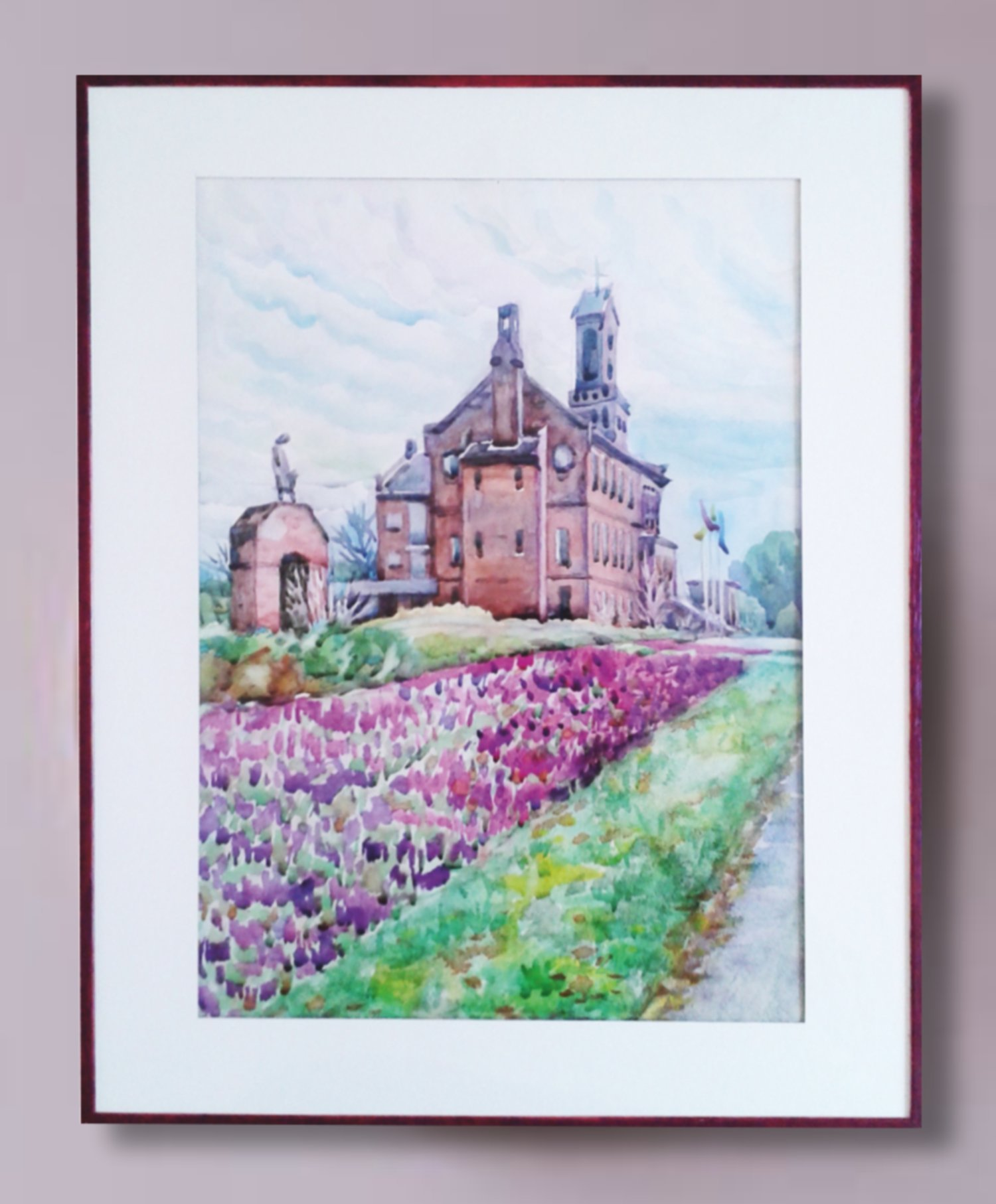 Zaure Kadyke; Spring In Netherland, 2018, Original Watercolor, 11.6 x 16.4 inches. Artwork description: 241 purple, Municipality, spring, town, woman, church, clouds, Winterswijk, flowers, grass, lilac, monument...