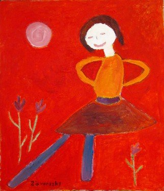 Marton Zavorszky; Dancing Girl, 2014, Original Painting Oil, 81 x 95 cm. Artwork description: 241  ( Oil on plywood) children drawing, red, colors, happy,    ...