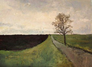 Marton Zavorszky; Road With Tree, 2015, Original Painting Oil, 70 x 50 cm. Artwork description: 241    ( oil on canvas) road, fields, tree, lonelines   ...