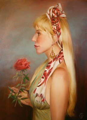 Marsha Bowers; Lady with Rose, 2014, Original Painting Oil, 24 x 30 inches. Artwork description: 241   Oil on Canvas            ...
