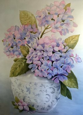 Marsha Bowers; Hydrangeas, 2019, Original Painting Oil, 4 x 5 feet. Artwork description: 241 Large scale painting.  Commission for client.  Painted on artist painting wall and to be installed on clients  wall. 5 ft x 4 ft...