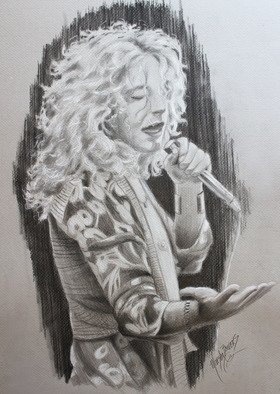 Marsha Bowers; Sketch- Robert Plant, 2017, Original Drawing Graphite, 18 x 24 inches. Artwork description: 241 Graphite sketch of Robert Plant. ...