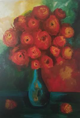 Zhaleh Rasek; Zh01ras, 2016, Original Painting Acrylic, 60 x 90 cm. Artwork description: 241 red roses and cyan ceramic jar in perfect harmony with background wallpaper was true inspiration for me . ...