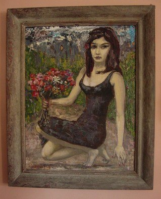Dana Zivanovits; FLOWER GIRL, 2002, Original Painting Oil, 22 x 29 inches. Artwork description: 241    This painting was done in oil on linen mounted to panel to support the heavy and richly painted surface. Painting is framed in an wood gesso antique frame. Painting itself measures 22 x 29 and with frame 29 x 35    ...