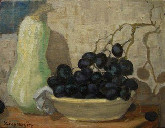 Dana Zivanovits; GOURDS AND GRAPES, 2013, Original Painting Oil, 12 x 9.4 inches. Artwork description: 241             This painting was done from life in oil on linen mounted to an oak panel.                ...
