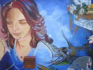 Zoraida Haibi; Dreaming Of A Future, 2007, Original Mixed Media, 40 x 36 inches. Artwork description: 241  Woman dreaming of future after the loss of her child.  Acrylic paint, charcoal, flowers, paper, wood box, metal charm on canvas. ...