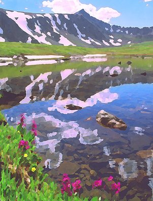 Steve Tohari; Alpine Lake 1, 2018, Original Photography Color, 16 x 20 inches. Artwork description: 241 Upper Mohawk Lake above Breckenridge, Colorado Colorado, Mohawk Lake, alpine lake, Breckenridge, wildflowers, reflections...