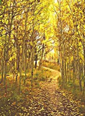 Steve Tohari; Autumn Trail 1, 2018, Original Photography Color, 16 x 20 inches. Artwork description: 241 Aspen in Autumn - trail above Frisco, Colorado. Photograph edited for painted effect. Aspen trees, Fall colors, Colorado, trail, hike, forest, yellow, gold...