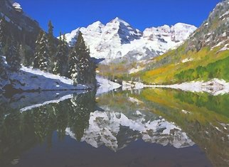Steve Tohari; Maroon Lake 1, 2018, Original Photography Color, 20 x 16 inches. Artwork description: 241 Maroon Bells reflected in Maroon Lake above Aspen, Colorado. Early snow in Autumn. Colorado, Maroon Lake, Maroon Bells, Aspen Fall color, lake, reflection, Autumn, Winter...