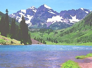 Steve Tohari; Maroon Lake 2, 2018, Original Photography Color, 20 x 16 inches. Artwork description: 241 Maroon Bells over Maroon Lake - near Aspen, Colorado. Early Summer. Colorado, Aspen, Maroon Lake, Maroon Bells, landscape...