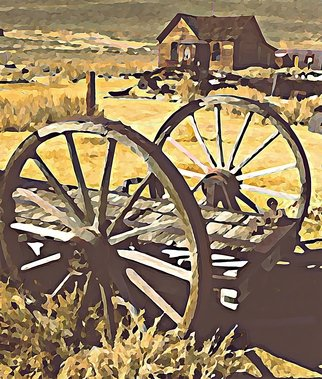 Steve Tohari; Wagon Wheels 1, 2018, Original Photography Color, 16 x 20 inches. Artwork description: 241 Old wagon wheels resting in Bodie, California ghost town. Photograph edited for painted effect. wagon wheels, Bodie California, ghost towns, antique...