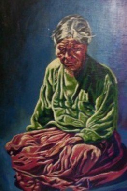 Zurama Johnston; Navajo Old Age, 1993, Original Painting Acrylic, 18 x 24 inches. Artwork description: 241  Sitting, old Navajo Woman ...
