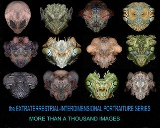 Sigmund Sieminski; Interdimensional Morphed ..., 2011, Original Computer Art, 20 x 16 inches. Artwork description: 241  Computer art images created by morphing body parts of iguans, elephant, rhiniceros and various other real world animals to create alien creature portraits. more than 1000 faces in the series.    ...