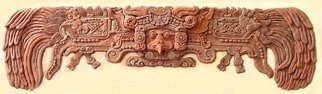 Sigmund Sieminski; Kukulkan, The Mayan Feath..., 2011, Original Bas Relief, 39 x 12 inches. Artwork description: 241   Kukulkan, bas relief paper mache composite sculpture Mayan reproduction of entry lintel, on wood panel.    ...