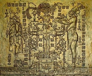 Sigmund Sieminski; Mayan  Temple Of The Cross, 2011, Original Bas Relief, 40 x 33 inches. Artwork description: 241  Reproduction of Mayan bas relief limestone sculpture from Palenque, Mexico. ...