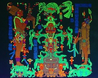 Sigmund Sieminski; Mayan Panel Temple Of The..., 2011, Original Painting Other, 24 x 18 inches. Artwork description: 241    Reproduction of original Mayan sculptural Panel of the Maize God/ Tree in black light paint, on masonite.      ...
