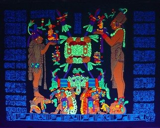 Sigmund Sieminski; Mayan Panel Temple Of The..., 2011, Original Painting Other, 24 x 18 inches. Artwork description: 241     Reproduction of original Mayan sculptural Panel of the Temple of the Sun Shield in black light paint, on masonite.       ...