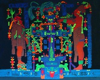 Sigmund Sieminski; Palenque Panel Of The Wor..., 2011, Original Painting Other, 24 x 18 inches. Artwork description: 241   Reproduction of original Mayan sculptural Panel of the World Tree in black light paint, on masonite.     ...