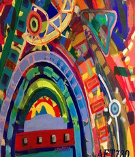 Artist: Anna Thurber, Artwork Title: An Amphitheater Comes Ali, 2015-08-01. Painting Oil, Abstract, $455