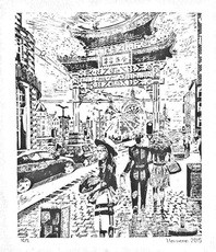 Artist: Varvara Stylidou, Artwork Title: China Town Antwerpen, 2015-04-25. Painting Ink, Cityscape, $368
