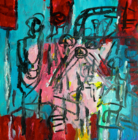 Artist: Engelina Zandstra, Artwork Title: Composition 4081, 2015-01-23. Painting Acrylic, Abstract Figurative, $1,102
