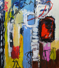 Artist: Engelina Zandstra, Artwork Title: Composition 4109, 2015-05-25. Painting Acrylic, Abstract Figurative, $1,575