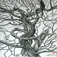 Artist: Walther Von Krenner, Artwork Title: Dragon Tree 2  Entwined, 2015-03-01. Painting Ink, Abstract Figurative, $8,190