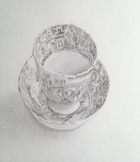 Artist: Rob Munro, Artwork Title: Early Spode Tea Bowl, 2015-08-25. Drawing Graphite, Still Life, $158