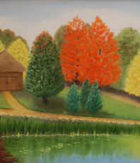 Artist: Lora Vannoord, Artwork Title: Fall In Michigan, 2015-09-04. Painting Oil, Landscape, $525