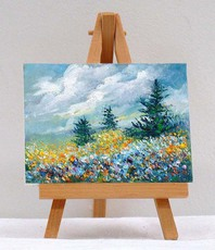 Artist: Valda Fitzpatrick, Artwork Title: Field With Blue And Yello, 2015-10-03. Painting Oil, Floral, $21