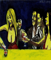Artist: Harry Weisburd, Artwork Title: Happy Hour With Friends, 2015-04-16. Watercolor, Figurative, $1,575