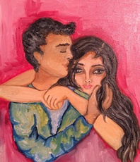Artist: Sangeetha Bansal, Artwork Title: Hug Me, 2015-09-03. Painting Oil, People, Request Price
