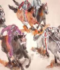 Artist: Debbi Chan, Artwork Title: Il Palio Contrada Lupa Al, 2016-05-02. Artistic Book, Equine, Not For Sale