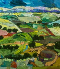 Artist: Allan P Friedlander, Artwork Title: Into The Fields, 2015-08-28. Painting Acrylic, Landscape, $2,599