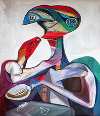 Artist: Raul Canestro Caballero, Artwork Title: Lunch, 2015-05-04. Painting Oil, Abstract Figurative, $2,100