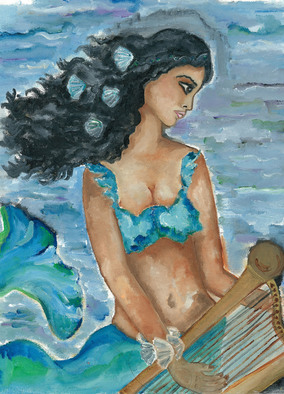 Artist: Sangeetha Bansal, Artwork Title: Mermaid, 2015-08-28. Painting Oil, People, Request Price