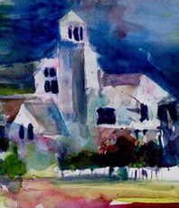 Artist: Daniel Clarke, Artwork Title: Midnight At The Lord Barr, 2015-10-05. Watercolor, Landscape, $407