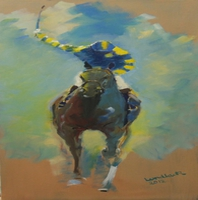 Tom Lund-Lack, Oil Sketch Blue And Yello, Equine, $ 420