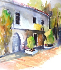 Artist: Daniel Clarke, Artwork Title: Old Mill South View, 2015-08-30. Watercolor, Landscape, $407