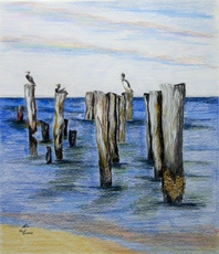 Artist: Ron Berry, Artwork Title: Pelicans On Pilings, 2015-07-31. Drawing Pencil, Beach, $368