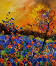 Artist: Pol Ledent, Artwork Title: Poppies 675140, 2015-04-27. Painting Oil, Landscape, $945