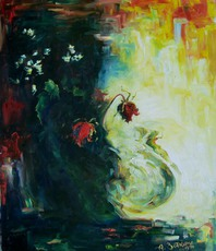 Artist: Anita Zotkina, Artwork Title: Red Roses, 2015-08-01. Painting Oil, Floral, $1,575