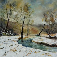Artist: Pol Ledent, Artwork Title: River Hileau  8851, 2015-01-25. Painting Oil, Landscape, $1,050