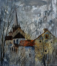 Artist: Pol Ledent, Artwork Title: Romanesque Church In Belg, 2015-04-30. Painting Oil, Landscape, $1,260