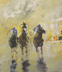 Artist: Tom Lund-Lack, Artwork Title: Runners In The 1430, 2015-11-27. Painting Acrylic, Equine, $945
