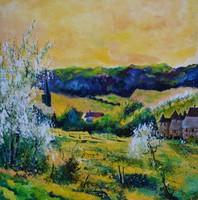 Artist: Pol Ledent, Artwork Title: Spring In Matagne, 2015-01-31. Painting Oil, Landscape, $2,100