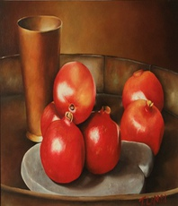 Artist: Trisha Lambi, Artwork Title: Still Life With Pomegrana, 2015-04-30. Painting Oil, Still Life, $1,108