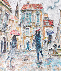 Artist: Carlos Pardo, Artwork Title: Suddenly The Rain, 2015-04-24. Illustration, Cityscape, $205